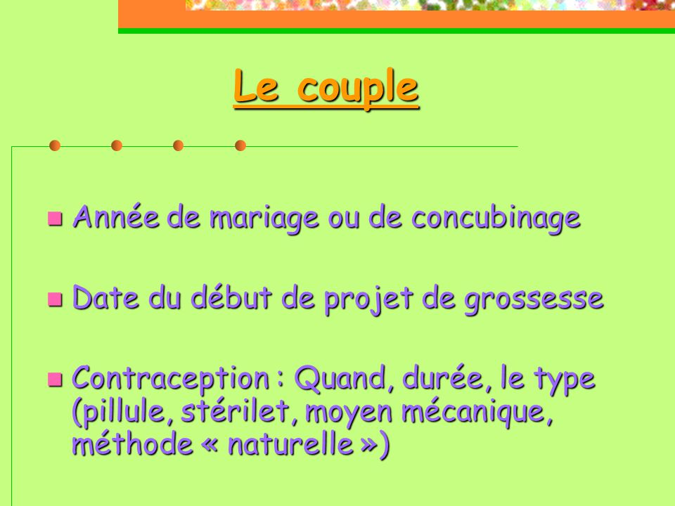 Le couple Année de mariage ou de concubinage