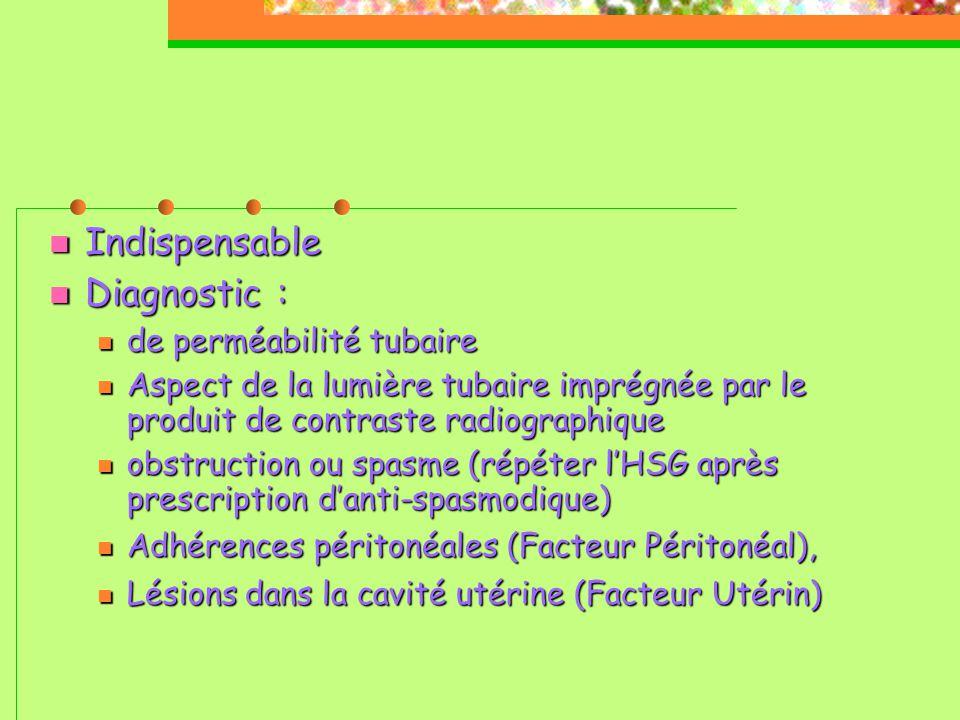 Indispensable Diagnostic : de perméabilité tubaire