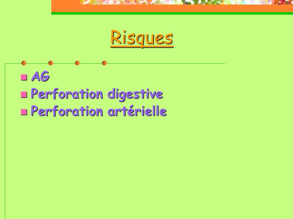 Risques AG Perforation digestive Perforation artérielle