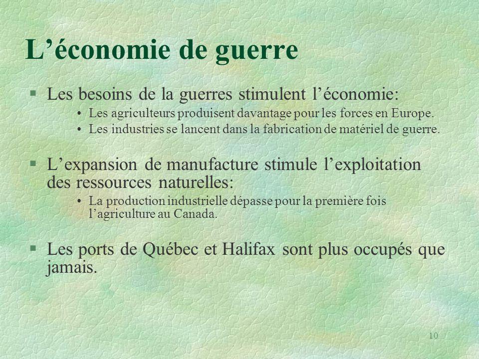 L'économie de guerre Les besoins de la guerres stimulent l'économie:
