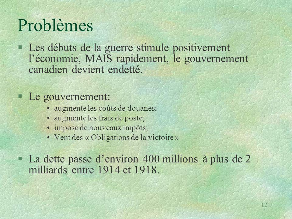 Problèmes Les débuts de la guerre stimule positivement l'économie, MAIS rapidement, le gouvernement canadien devient endetté.
