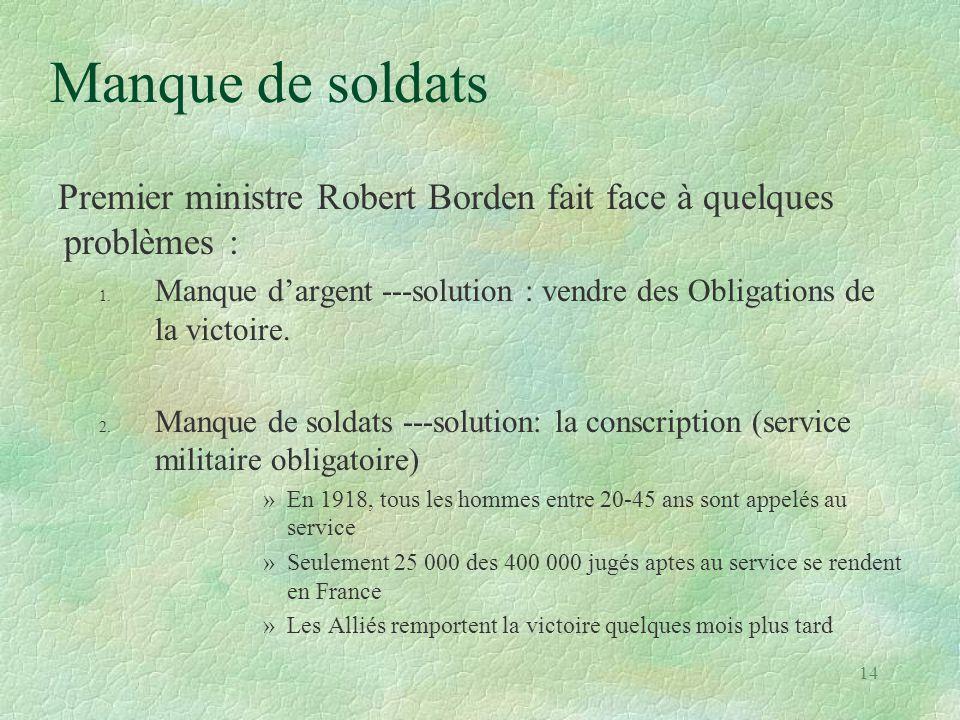 Manque de soldats Premier ministre Robert Borden fait face à quelques problèmes :