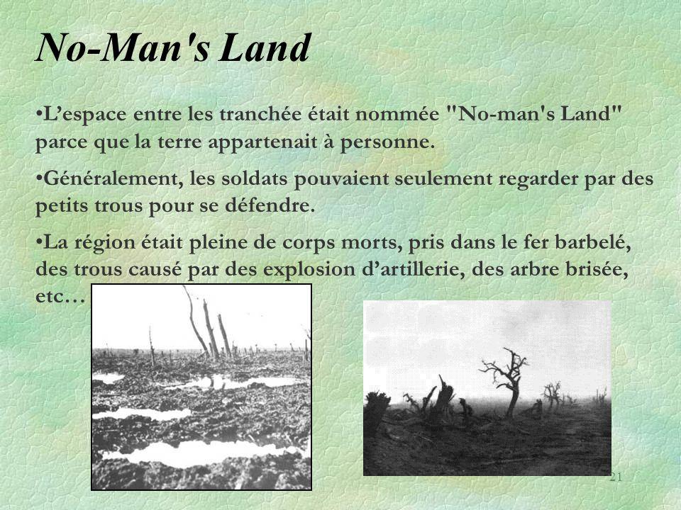 No-Man s Land L'espace entre les tranchée était nommée No-man s Land parce que la terre appartenait à personne.
