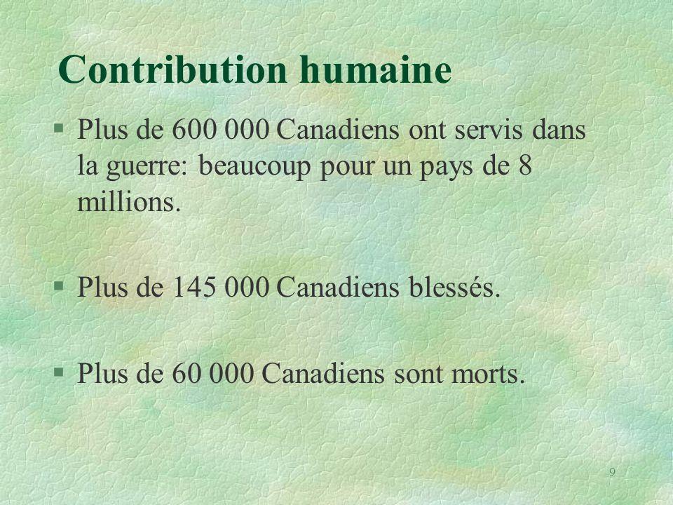 Contribution humaine Plus de 600 000 Canadiens ont servis dans la guerre: beaucoup pour un pays de 8 millions.