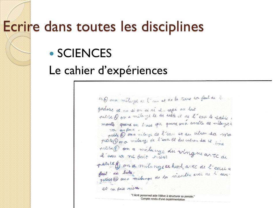 Ecrire dans toutes les disciplines