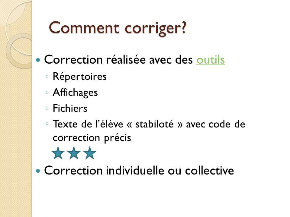 Comment corriger Correction réalisée avec des outils