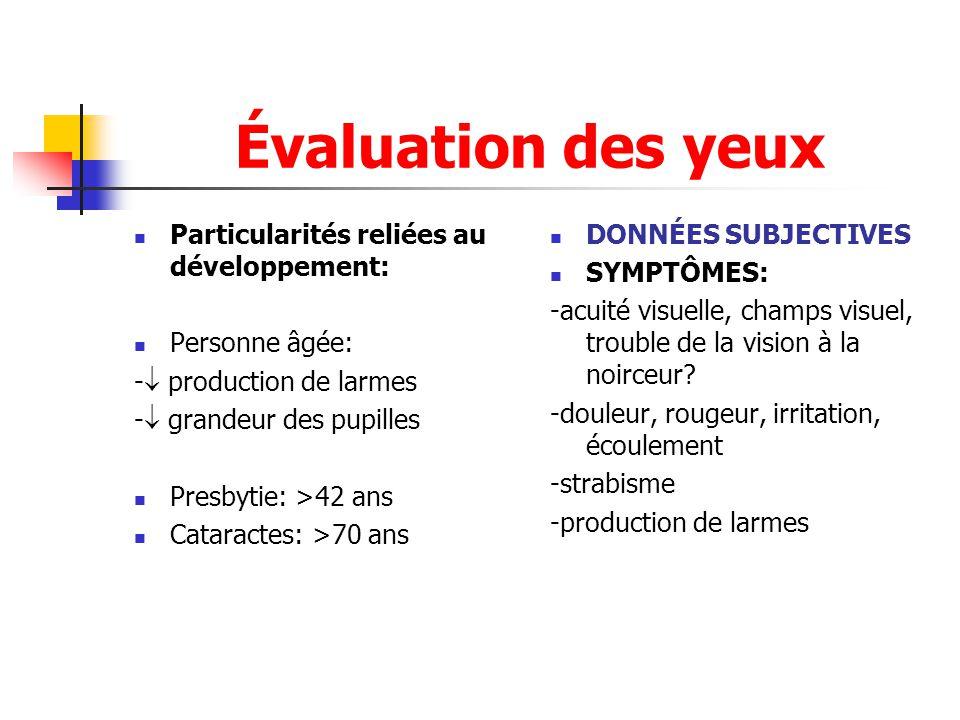 Évaluation des yeux Particularités reliées au développement: