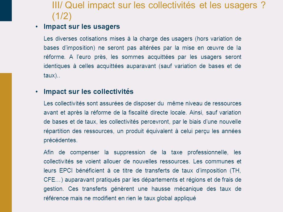 III/ Quel impact sur les collectivités et les usagers (1/2)