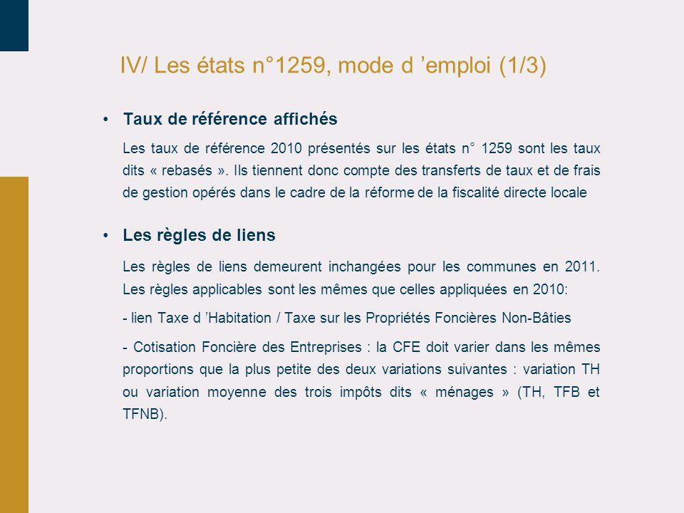 IV/ Les états n°1259, mode d 'emploi (1/3)