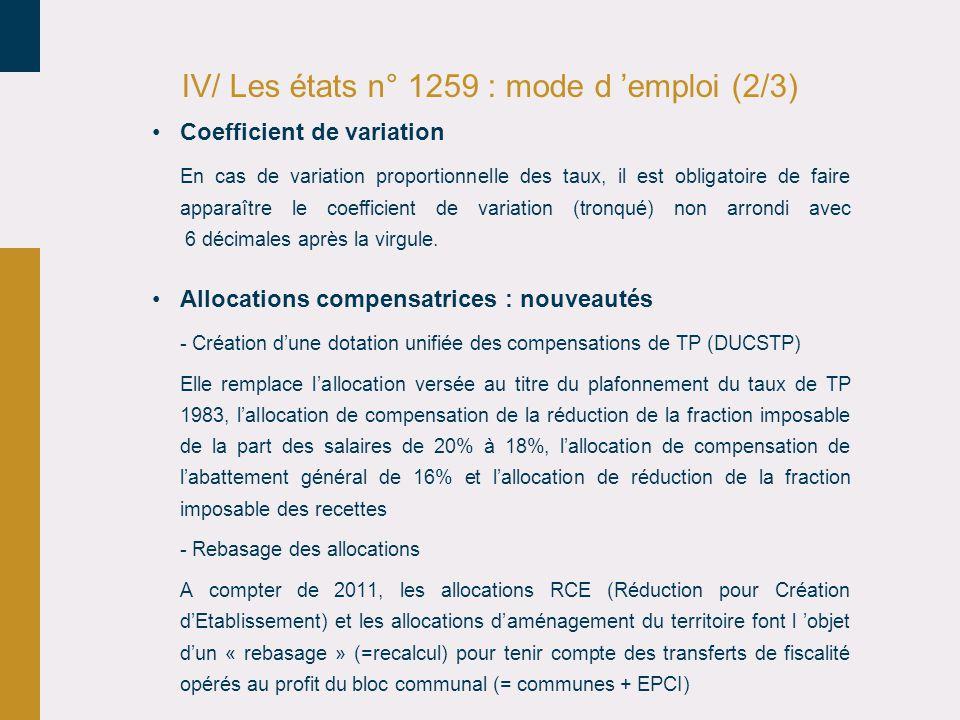 IV/ Les états n° 1259 : mode d 'emploi (2/3)