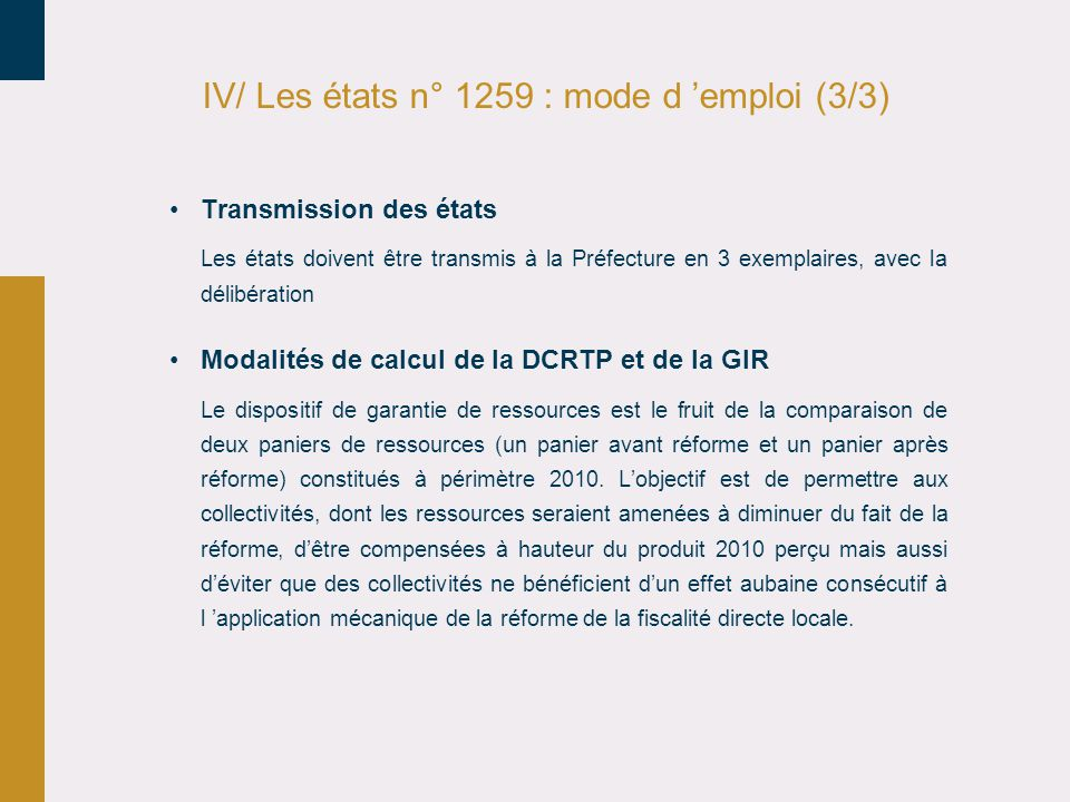 IV/ Les états n° 1259 : mode d 'emploi (3/3)