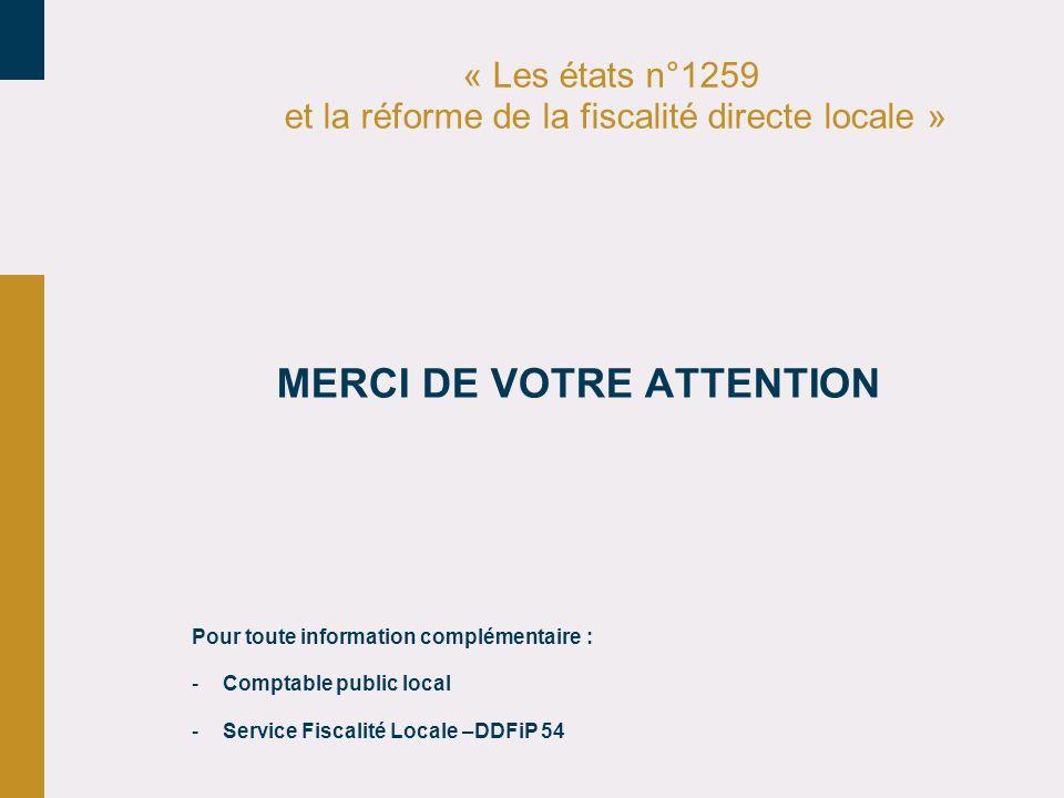 « Les états n°1259 et la réforme de la fiscalité directe locale »