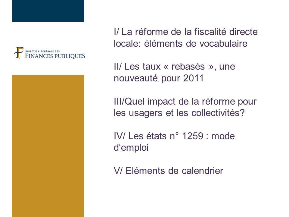 I/ La réforme de la fiscalité directe locale: éléments de vocabulaire