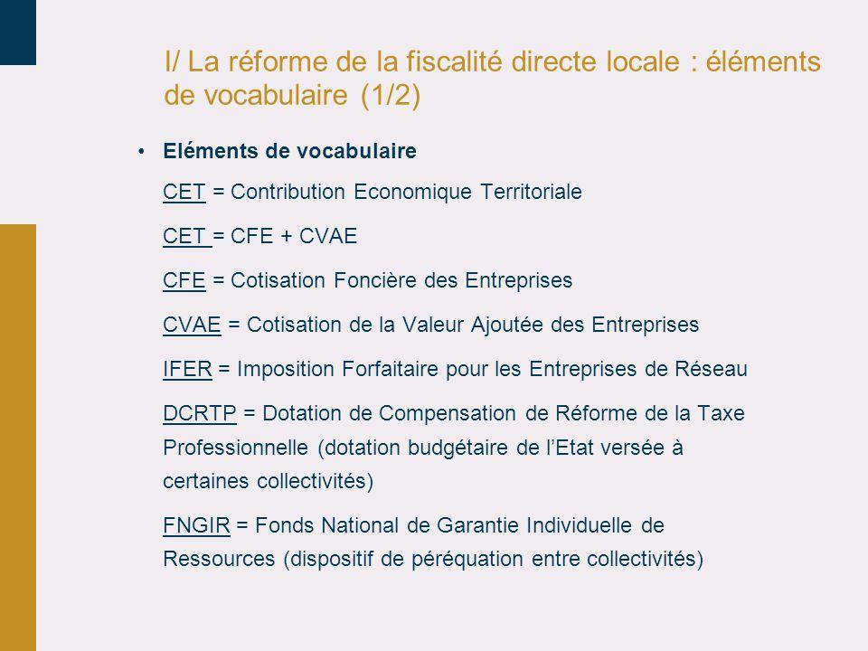 I/ La réforme de la fiscalité directe locale : éléments de vocabulaire (1/2)