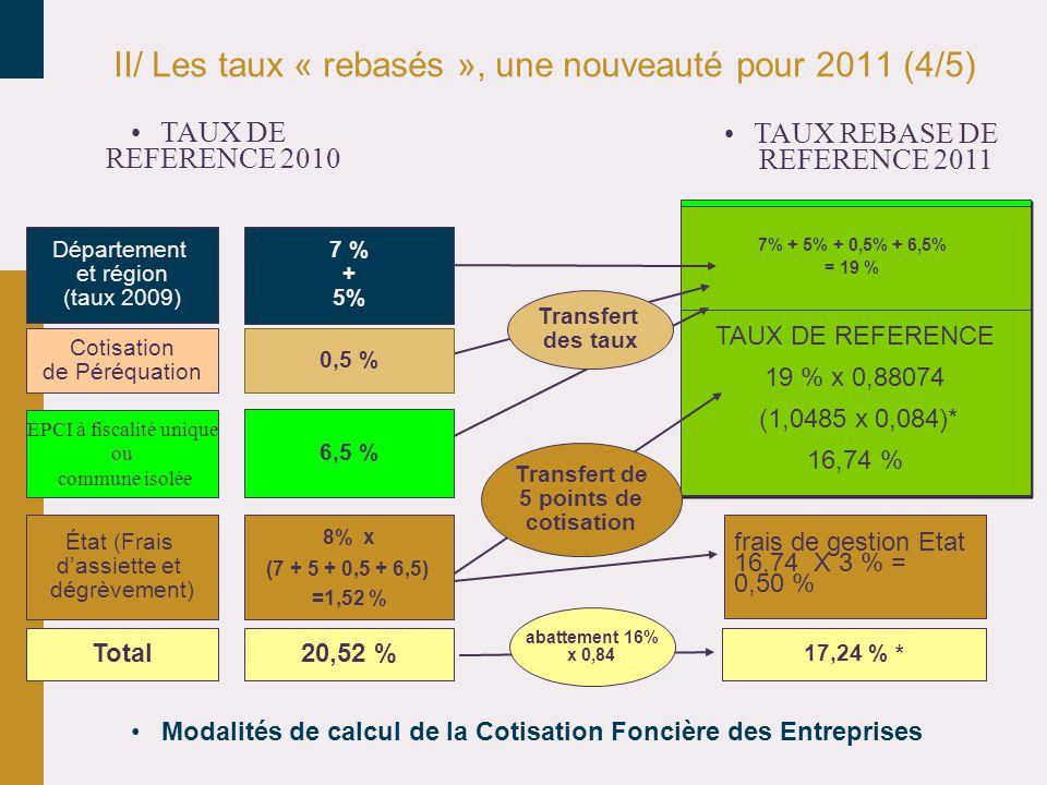 II/ Les taux « rebasés », une nouveauté pour 2011 (4/5)