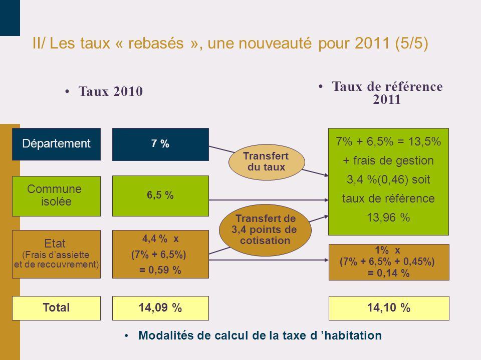 II/ Les taux « rebasés », une nouveauté pour 2011 (5/5)