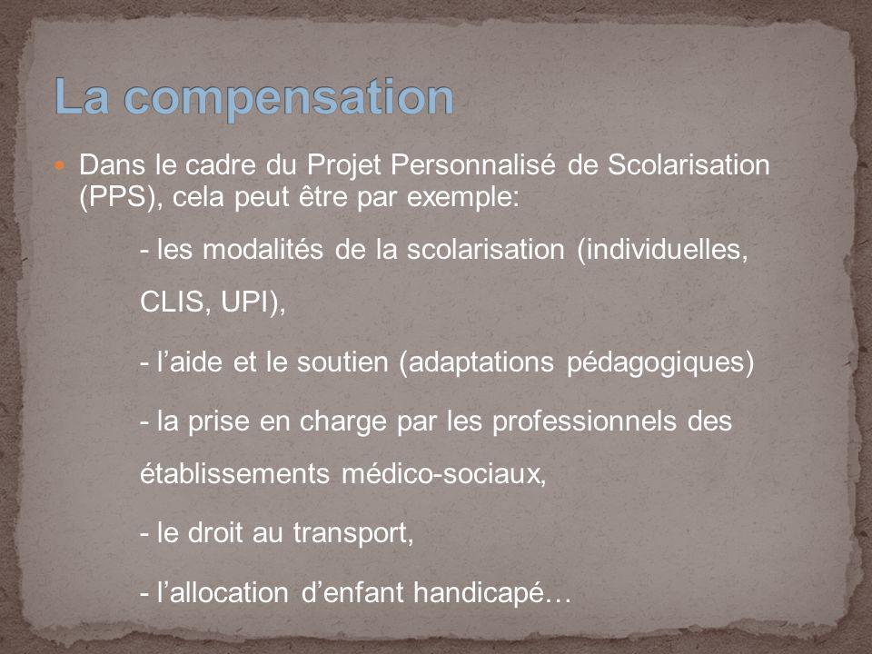 La compensation Dans le cadre du Projet Personnalisé de Scolarisation (PPS), cela peut être par exemple: