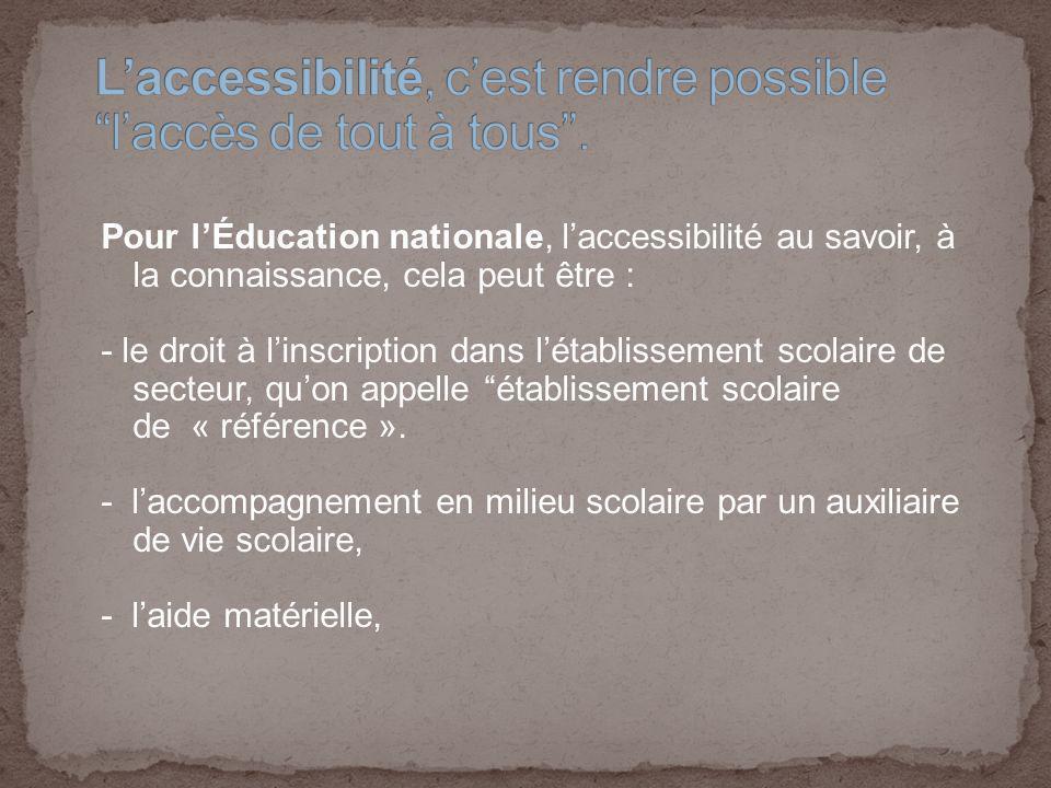 L'accessibilité, c'est rendre possible l'accès de tout à tous .