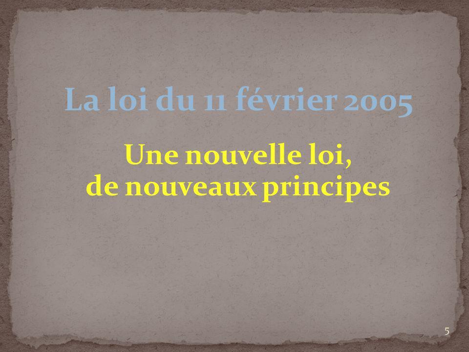 La loi du 11 février 2005 Une nouvelle loi, de nouveaux principes
