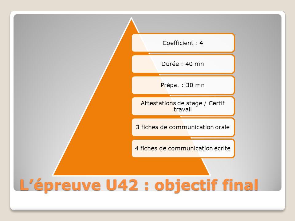 L'épreuve U42 : objectif final