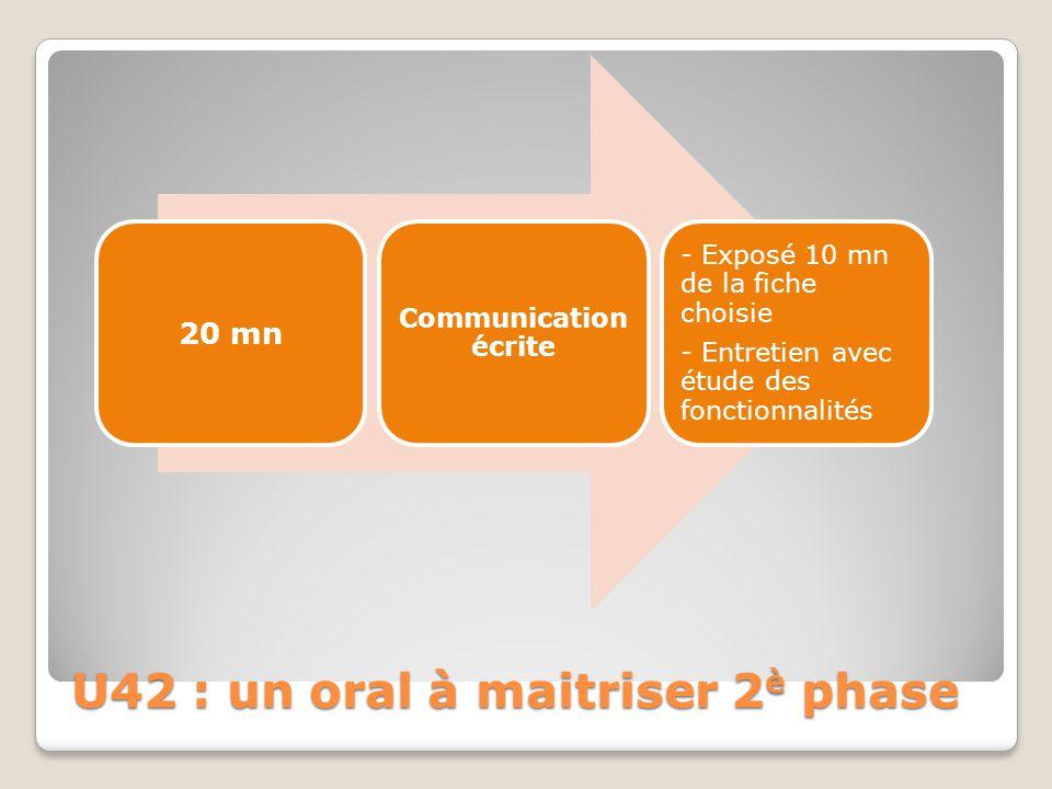 U42 : un oral à maitriser 2è phase