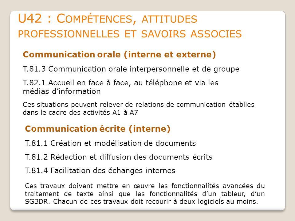 U42 : Compétences, attitudes professionnelles et savoirs associes