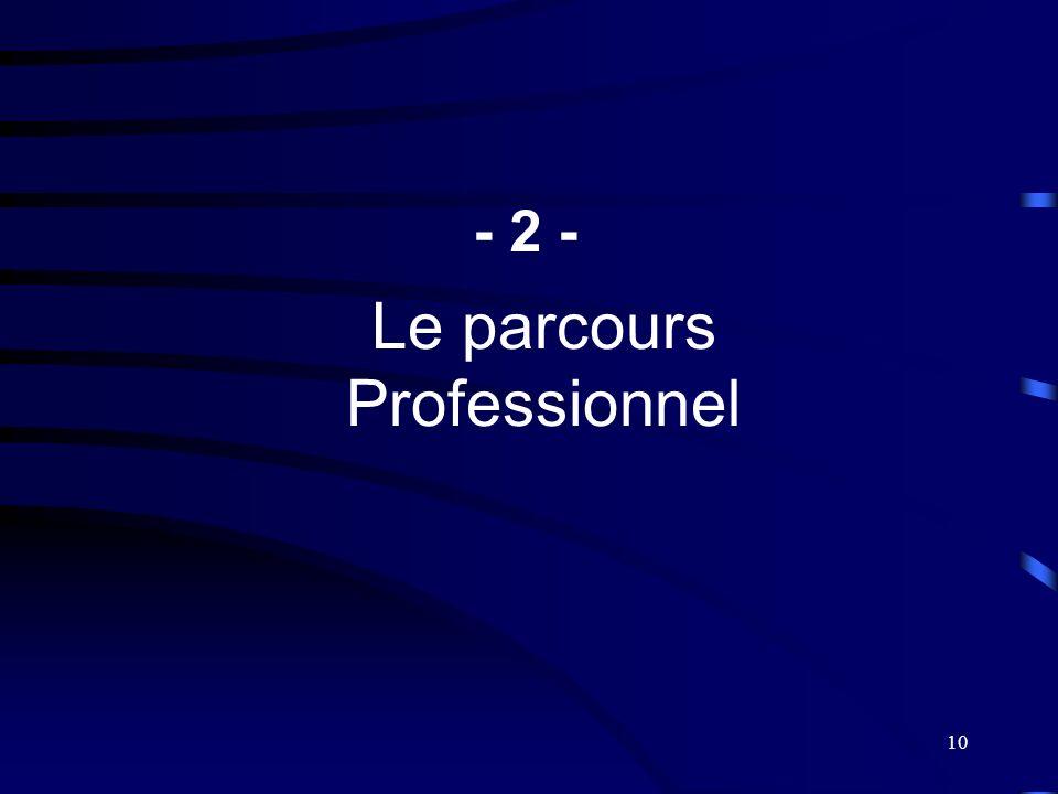 - 2 - Le parcours Professionnel