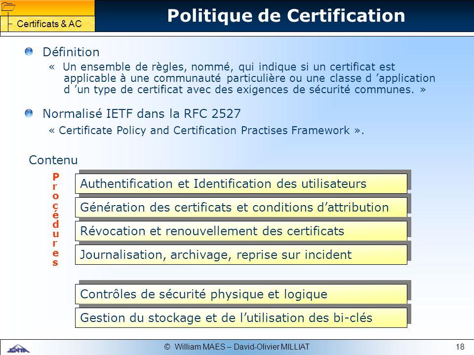 Politique de Certification