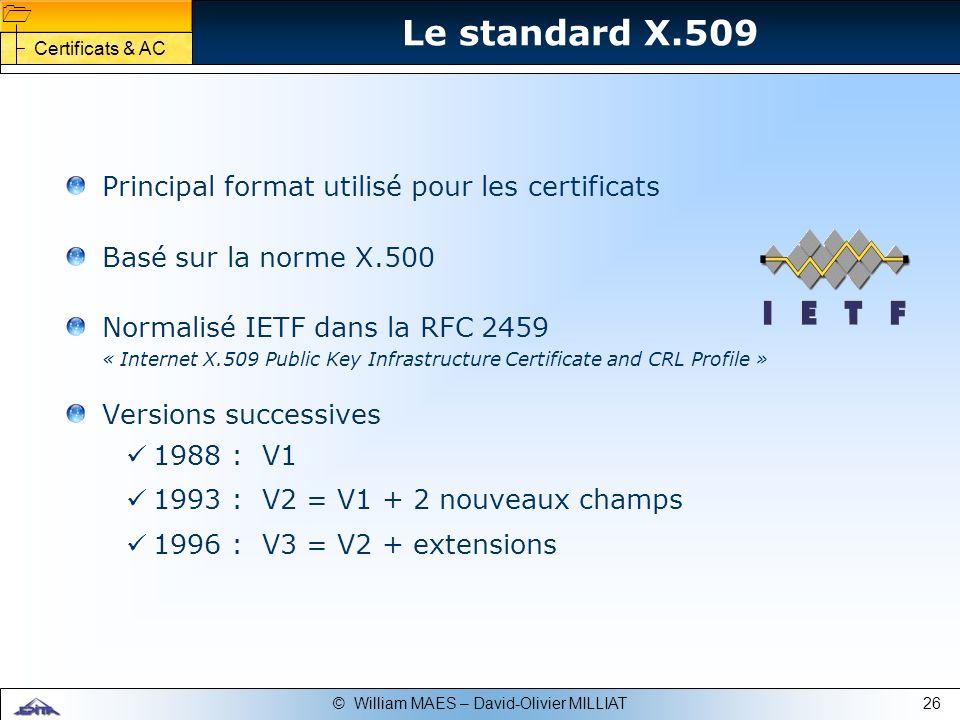 Le standard X.509 Principal format utilisé pour les certificats