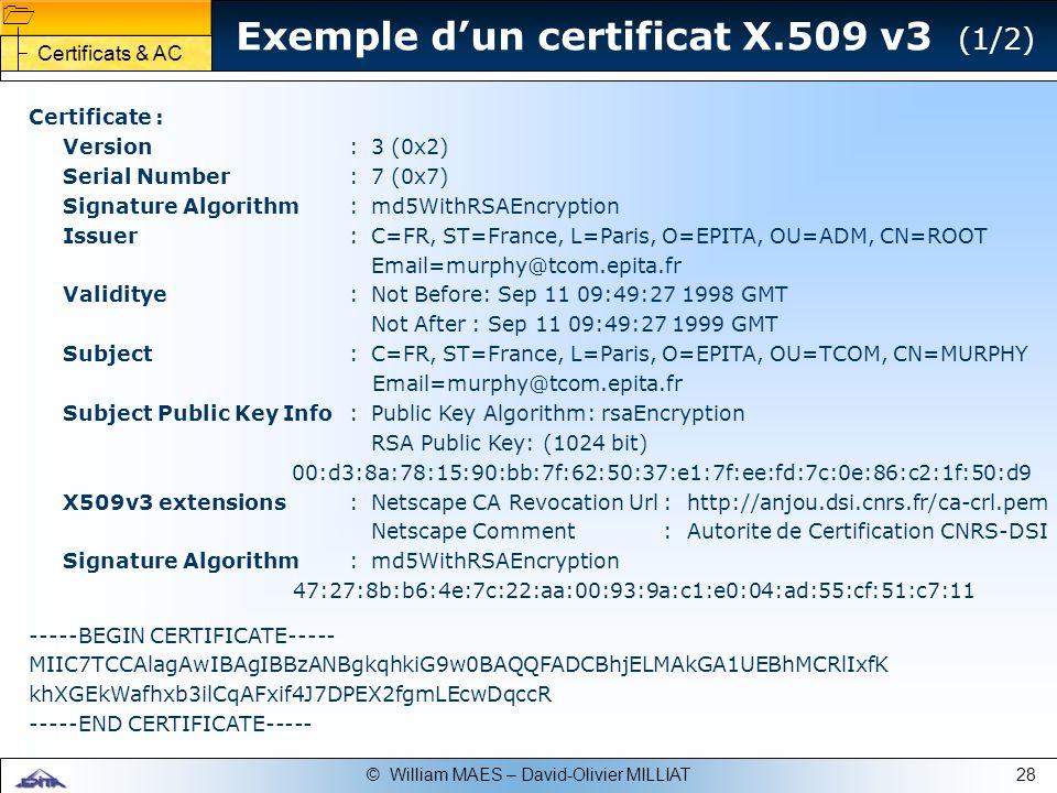 Exemple d'un certificat X.509 v3 (1/2)