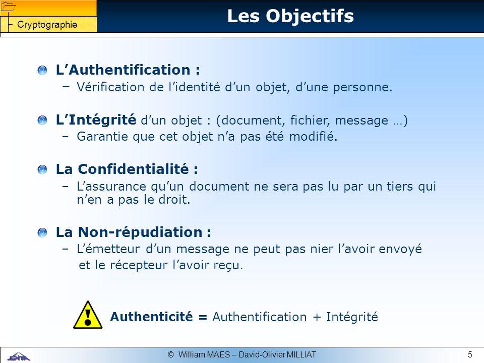 Les Objectifs L'Authentification :