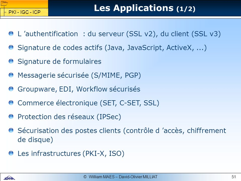 Les Applications (1/2)PKI - IGC - ICP. L 'authentification : du serveur (SSL v2), du client (SSL v3)
