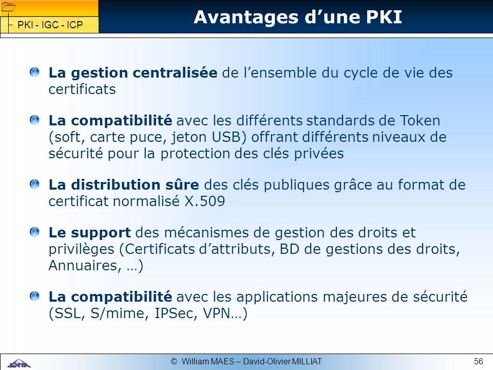 Avantages d'une PKI PKI - IGC - ICP. La gestion centralisée de l'ensemble du cycle de vie des certificats.