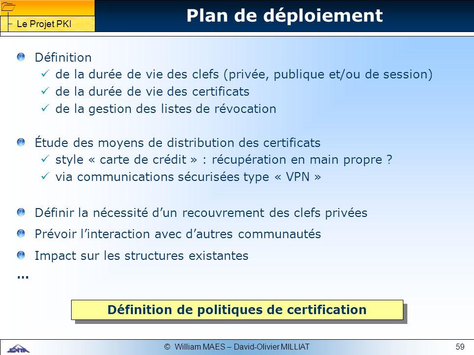 Définition de politiques de certification