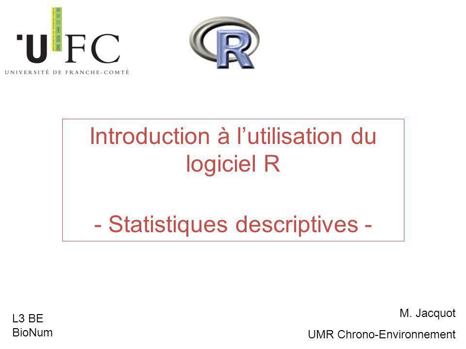 Introduction à l'utilisation du logiciel R