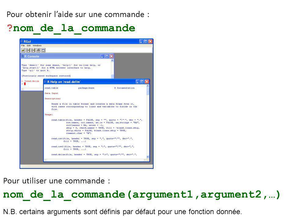 nom_de_la_commande(argument1,argument2,…)