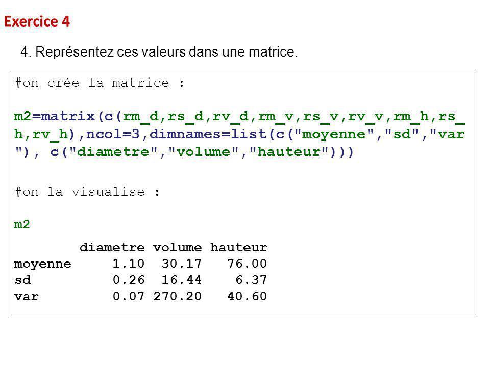 Exercice 4 4. Représentez ces valeurs dans une matrice. #on crée la matrice :