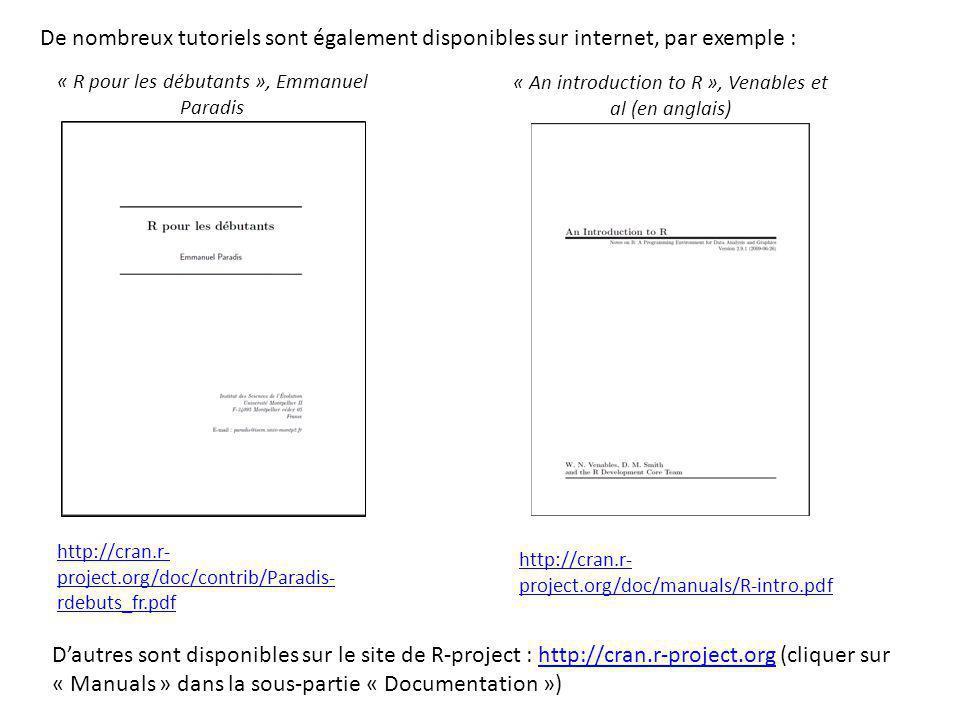 De nombreux tutoriels sont également disponibles sur internet, par exemple :