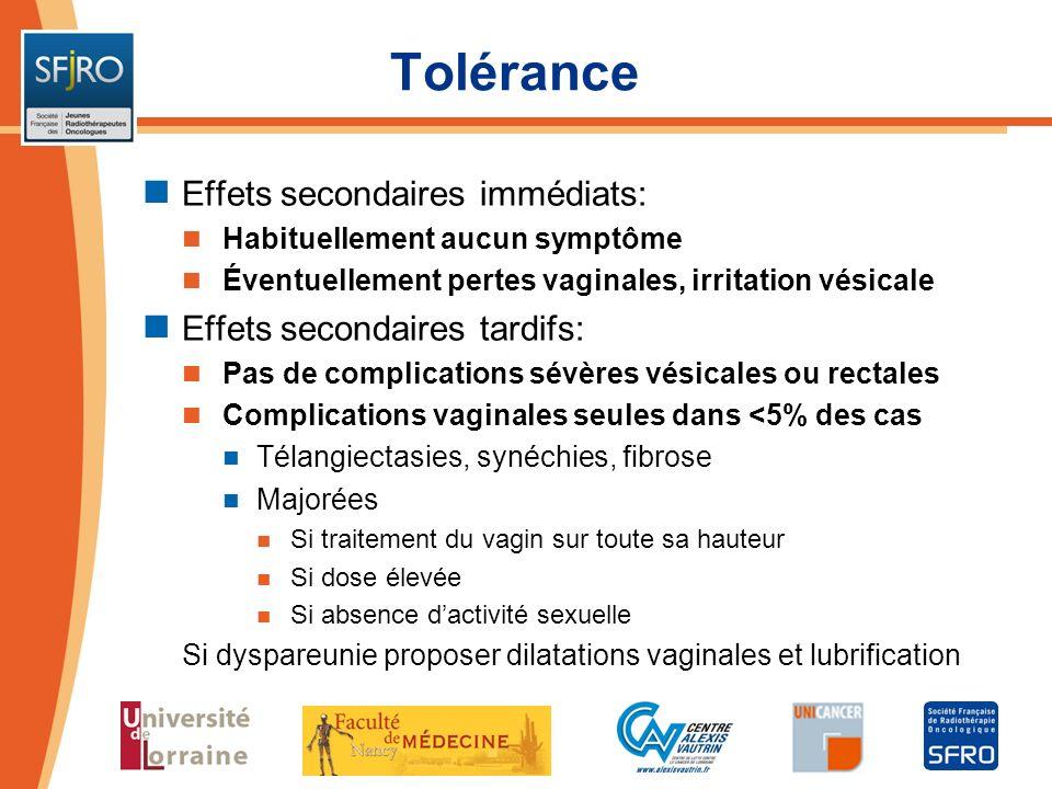 Tolérance Effets secondaires immédiats: Effets secondaires tardifs: