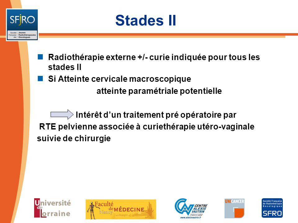 Stades II Radiothérapie externe +/- curie indiquée pour tous les stades II. Si Atteinte cervicale macroscopique.