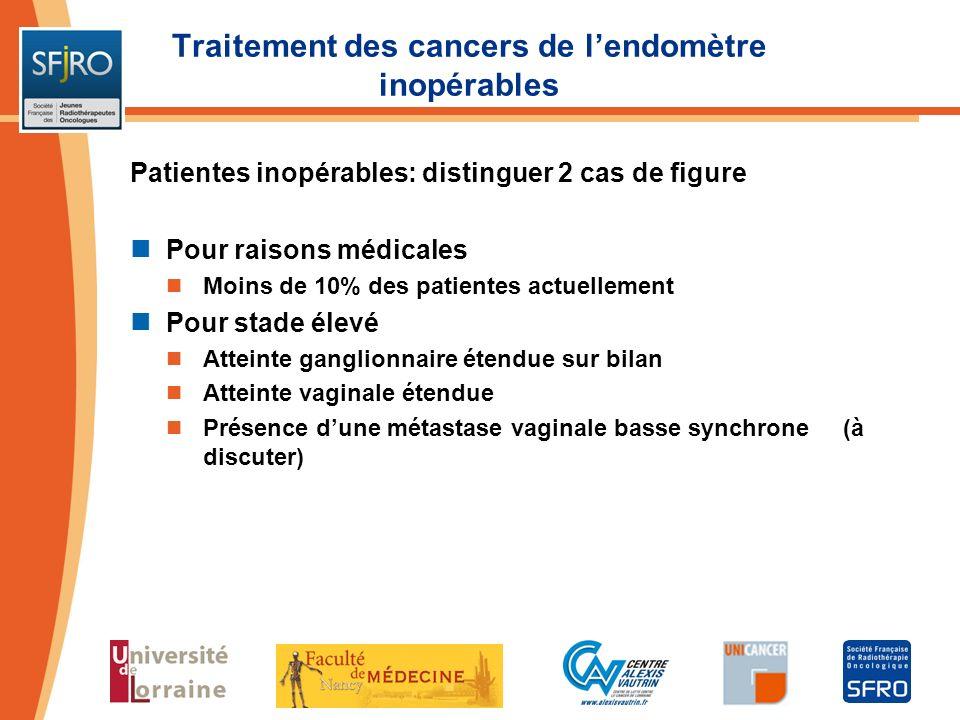 Traitement des cancers de l'endomètre inopérables
