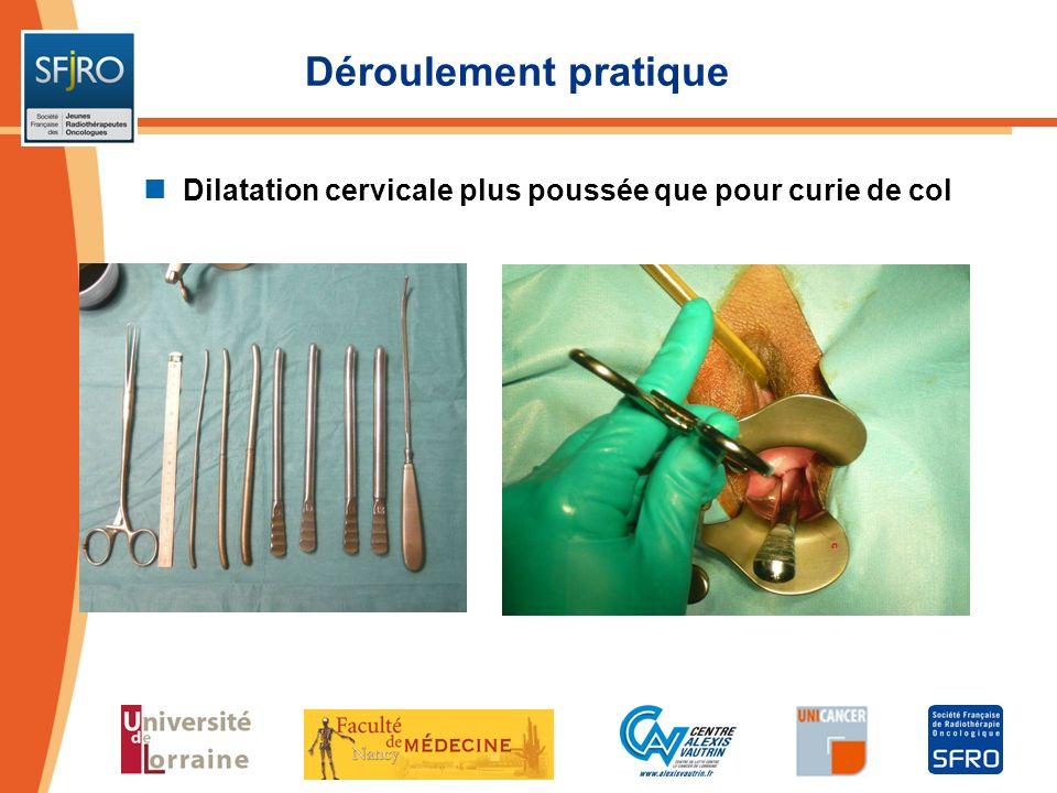 Déroulement pratique Dilatation cervicale plus poussée que pour curie de col