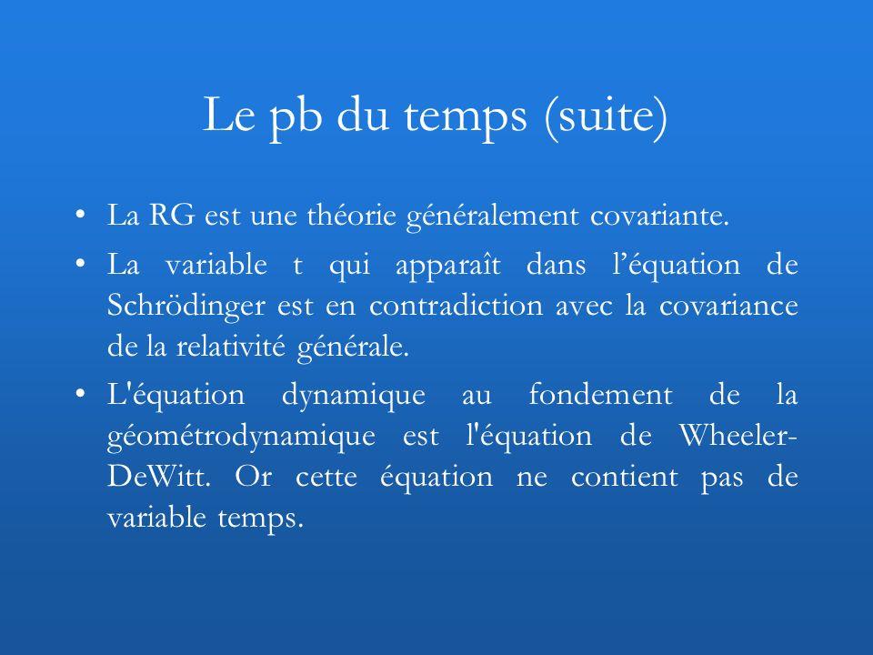 Le pb du temps (suite) La RG est une théorie généralement covariante.