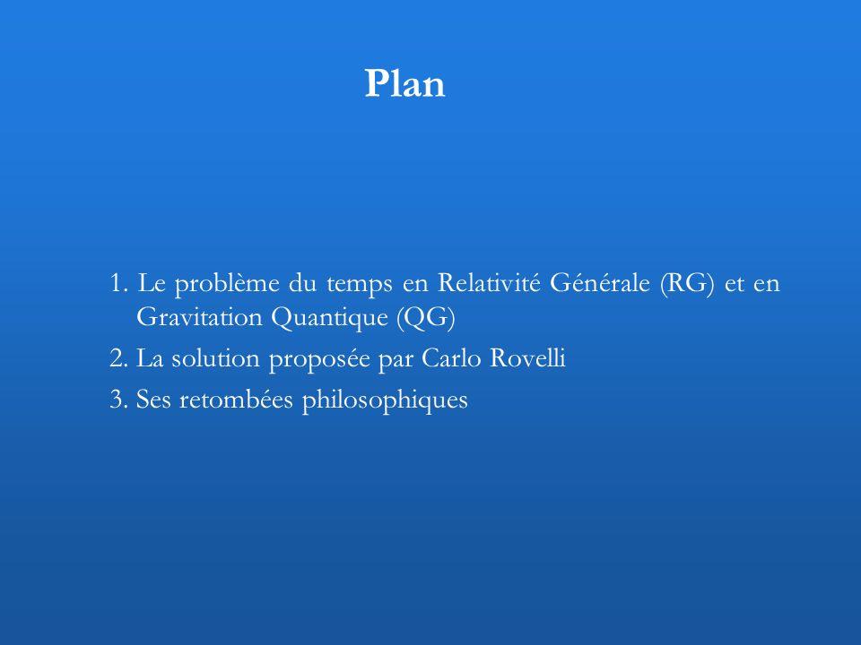 Plan 1. Le problème du temps en Relativité Générale (RG) et en Gravitation Quantique (QG) 2. La solution proposée par Carlo Rovelli.