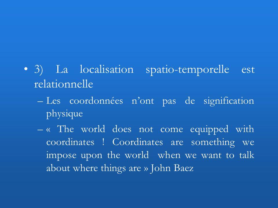 3) La localisation spatio-temporelle est relationnelle