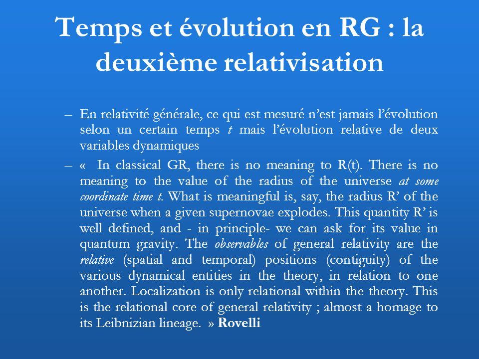 Temps et évolution en RG : la deuxième relativisation