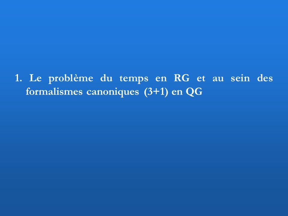 1. Le problème du temps en RG et au sein des formalismes canoniques (3+1) en QG