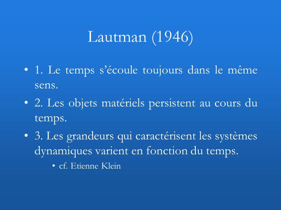 Lautman (1946) 1. Le temps s'écoule toujours dans le même sens.