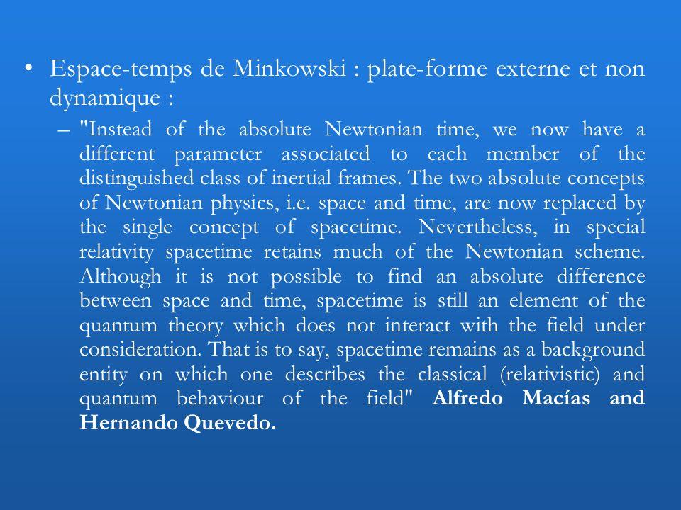 Espace-temps de Minkowski : plate-forme externe et non dynamique :