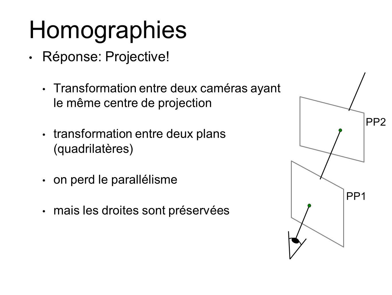 Homographies Réponse: Projective!